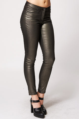 Black Metallic Gold Party Trousers Ex-Branded-Metallic-16