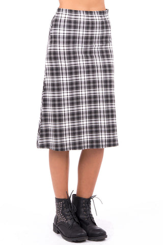 Tartan A-Line Skirt -Black / White-UK 12 - EU 40