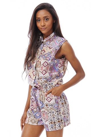 Tribal Print Playsuit-Teal-XL/XXL - UK (10-12)