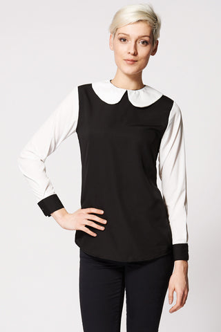 Contrast Peter Pan Collar Blouse Ex-Branded-Black-14