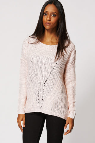 Baby Pink Pattern Knitted Hi Low Jumper Ex-Branded-Pink-XL