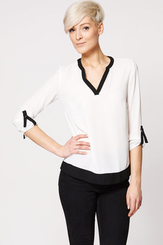Contrast Black Trim Sheer Blouse Ex-Branded-White -22