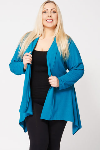 Colour Block Hanky Hem Open Cardigan-Purple-30/32