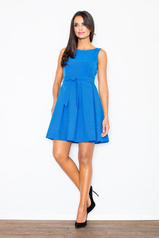 Above Knee Sleeveless Ocean Blue Baby Doll Dresses with Pleates and Belt