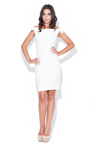 Off White Above Knee Bow Sleeve Body Con Dress