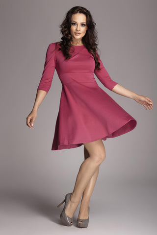 Fuchsia 3/4 Inch Sleeve Flared Dress