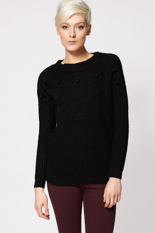 Black Textured Bubble Detail Knitted Sweater-Black-XL
