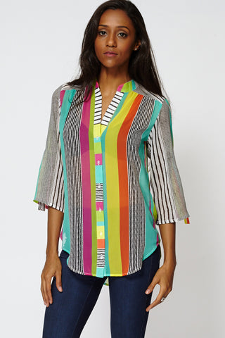 Multi-Coloured Striped Button Up Sheer Shirt-Multi-12