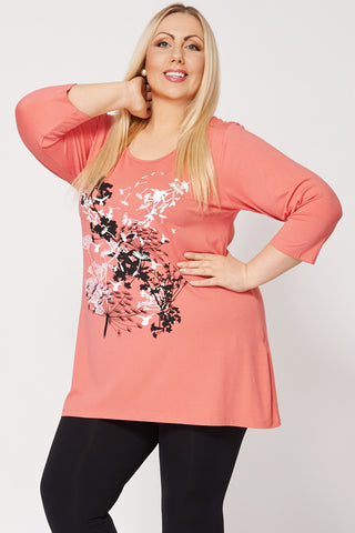 Nature Print Bow Detail Top-Pink-26/28