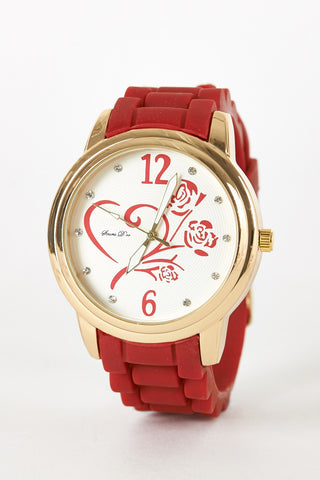 Heart and Rose Design Silicone Rubber Strap Watch-Grey