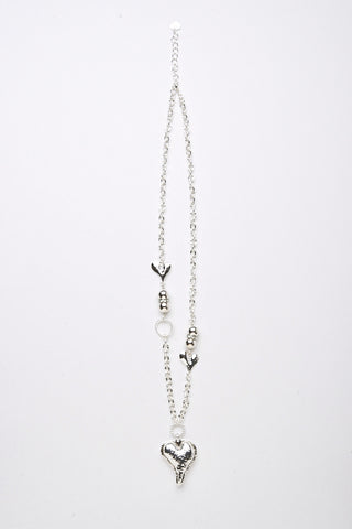 Heart Detail Chunky Chain Necklace-Silver