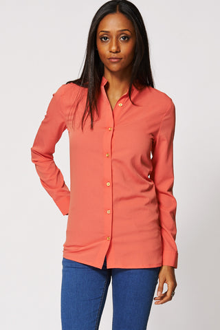 Chic Textured Button Up Shirt Ex-Branded-Coral-14
