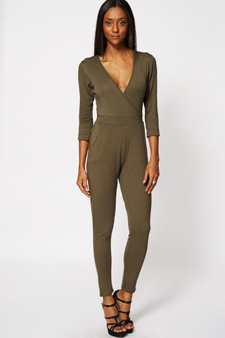 Green Cross Over Belted Jumpsuit Ex-Branded-Green-14