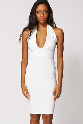 Plunge Front Open Back Bodycon Dress In White-White-14