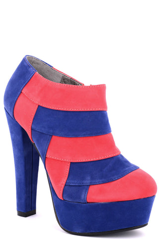 Faux Suede High Heel Boots - Last Few-Blue -UK3-EU36
