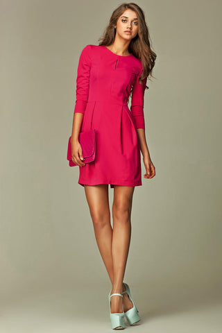 Hot Pink Pleated Key Hole 3/4 Inch Sleeved Dress