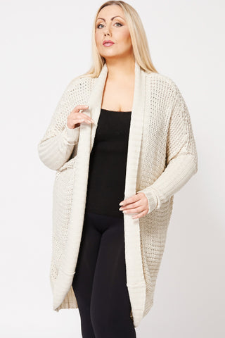 Shawl Collar Batwing Sleeve Long Cardigan-Beige-XXXL