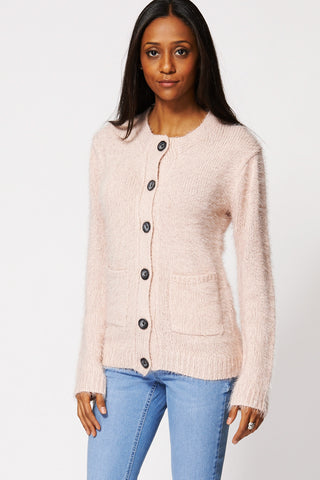 Fluffy Button Up Cardigan-Pink-XL