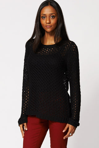 Black Loose Knit Crochet Hi Low Jumper-Black-XXL