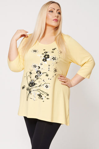 Black And Silver Floral Print Dip Hem Top-Yellow-26/28