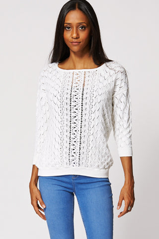 White Cut Out Design Crochet Panel Top-White-L