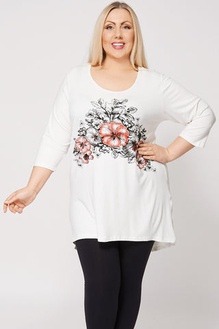Flower Bed Print Dip Hem Top-Cream-26/28