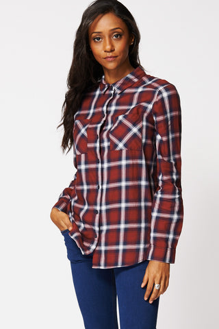 Burgundy Checkered Hi Low Shirt Ex-Branded-Multi-8