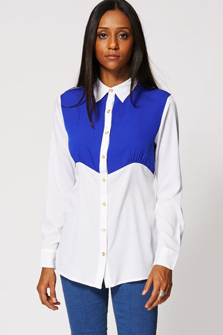 Two Tone Panel Shirt Ex-Branded-White-14