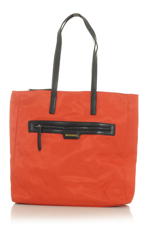Orange Tote Handbag with Brown Trim