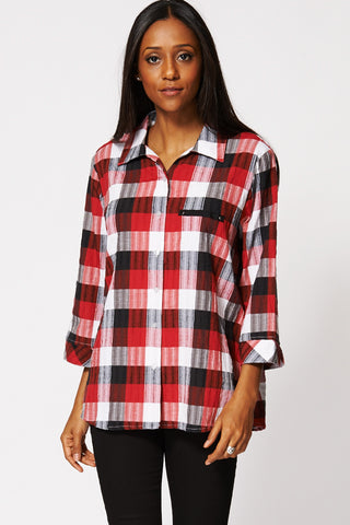 Checkered Crinkle Detail Button Up Shirt -Multi-18