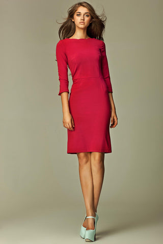 Maroon 3/4 Inch Sleeve Knee Length Business Dress