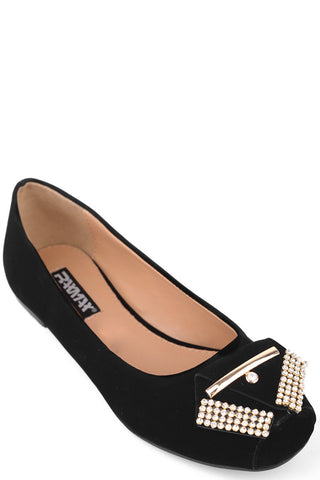 Suede Look Pumps With Diamond Detail