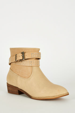 Two Tone Ankle Strap With Diamante Detail Boots-Beige-UK 8 - EU 41