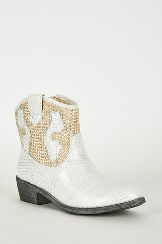 White Frosted Look Leatherette Cowboy Boots-White -UK 8 - EU 41