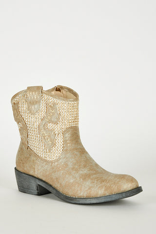 Frosted Look Leatherette Detailed Cowboy Boots-Brown-UK 8 - EU 41