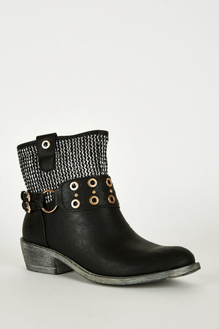 Textured Silver Detail Western Style Boots-Black-UK 7 - EU 40