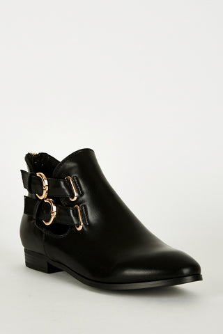Black Double Buckle Zip Heel Ankle Boots-Black-UK 8 - EU 41