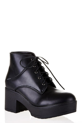 Cleated Lace-Up Ankle Boot-Black-UK 7 - EU 40