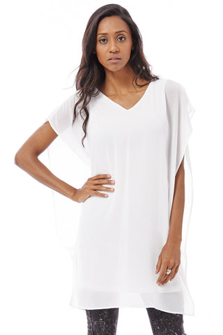 Layered V-Neck Tunic -White -S/M - UK (8-10)
