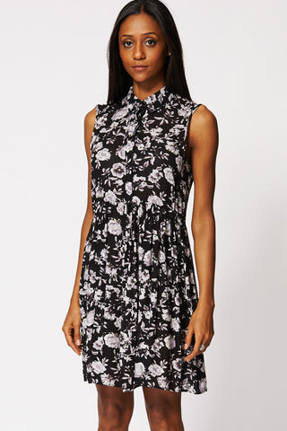 Floral Print High Waist Dress Ex-Branded-Black-10