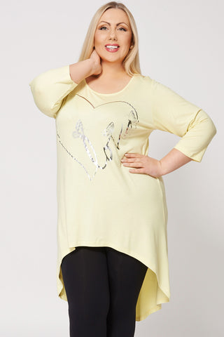 Butterfly And Love Print Dip Hem Tunic Top -Yellow-26/28