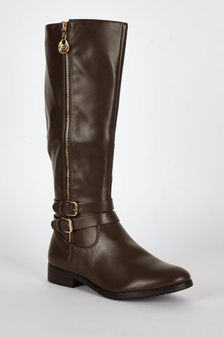 Double Buckle Detail Leatherette Calf Boots-Brown-UK 7 - EU 40