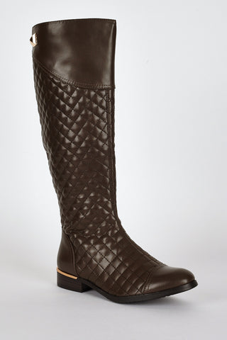Quilted Leatherette Low Heel Calf Boots-Brown-UK 4 - EU 37