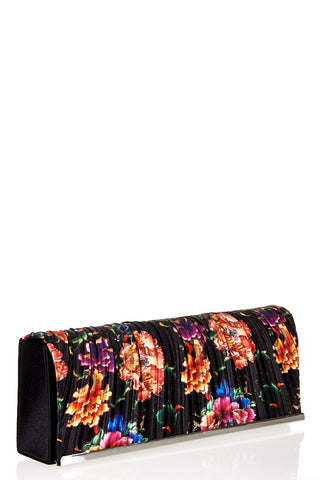 Pleated Flower Print Clutch Bag-Light Pink