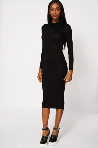 Black Cowl Neck Fitted Dress Ex-Branded-Black-UK 14 - EU 42
