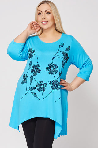 Floral Flock Print Handkerchief Top-Blue-26/28