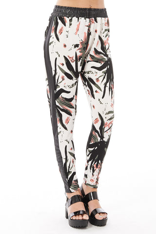 Loose Fitting Abstract Print Trousers with Wet Look Detail-Black-L/XL - UK (12-14)