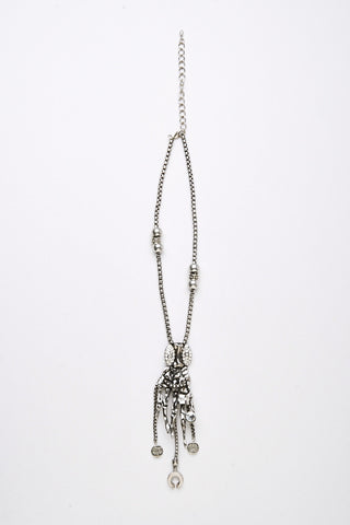 Skeleton Hand and Hanging Charm Necklace-Silver