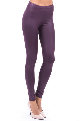 Wet Look Leggings-Burgundy-UK 10 - EU 38