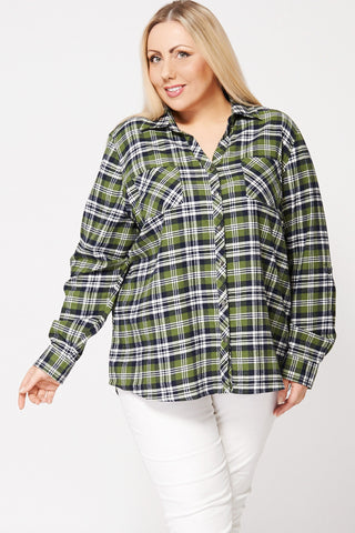 Brushed Cotton V-Neck Check Shirt-Green-20
